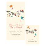 Malované modré svatební oznámení s ptáčky