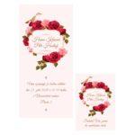 Růžové svatební oznámení s ptáčkem a růžemi