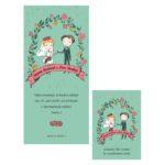 Malované svatební oznámení postavičky nevěsty a ženicha