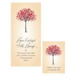 Svatební oznámení s krasopisem a stromem se srdci