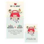 Malované svatební oznámení postavičky nevěsty a ženicha v autě