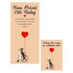 Malované svatební oznámení postavičky nevěsty a ženicha na kole se srdcem
