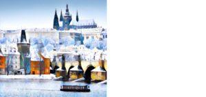 Novoroční přání - Zasněžený Karlův most